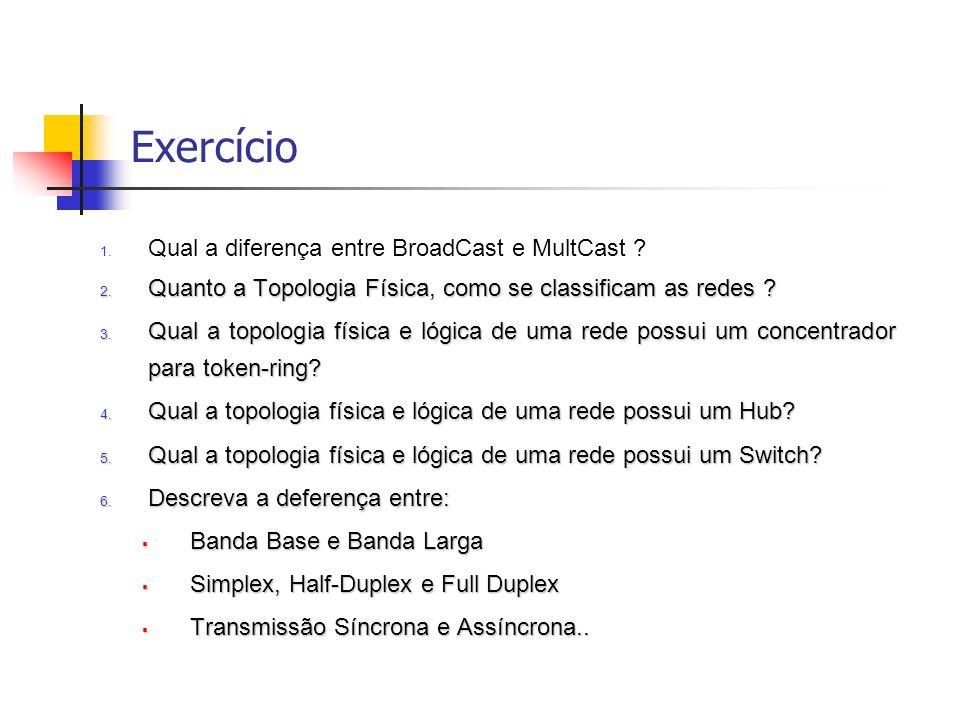 Exercício 1.Qual a diferença entre BroadCast e MultCast .
