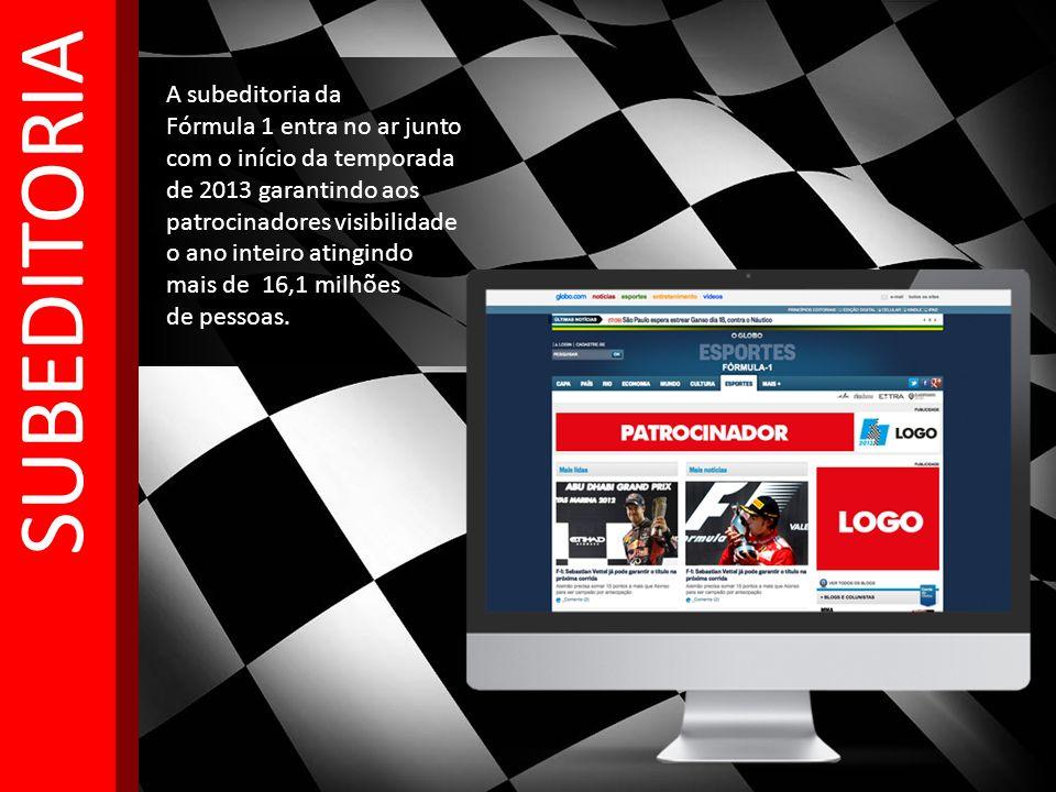 A subeditoria da Fórmula 1 entra no ar junto com o início da temporada de 2013 garantindo aos patrocinadores visibilidade o ano inteiro atingindo mais