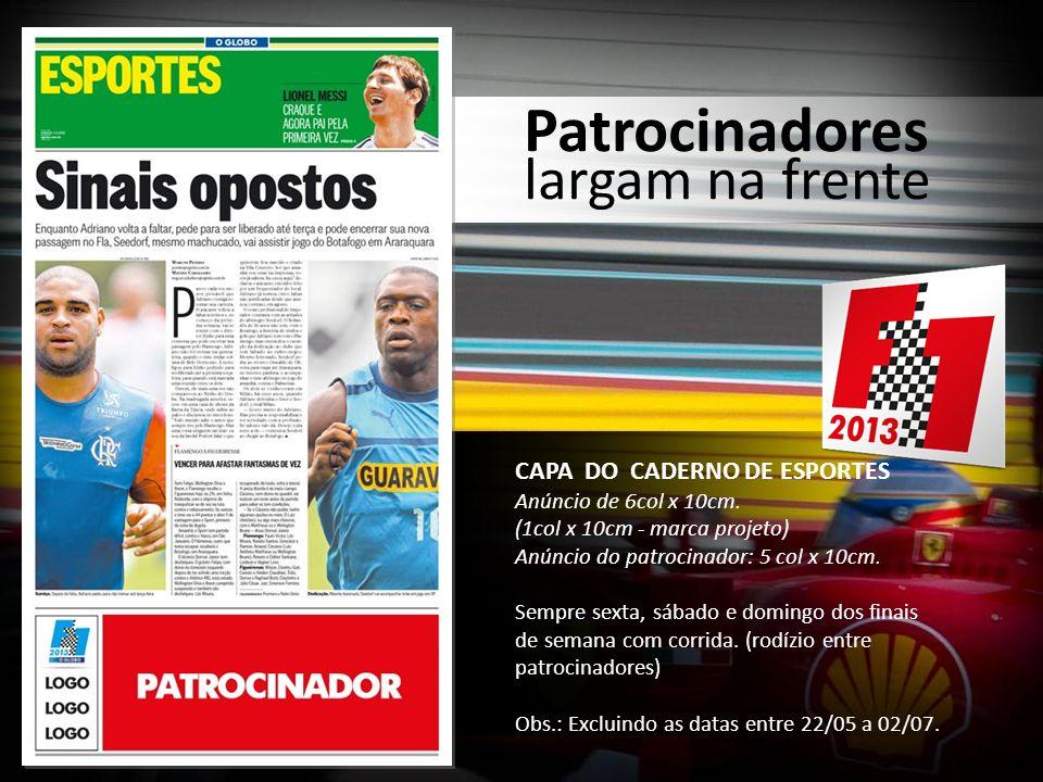 COLUNA PIT STOP Veiculações de anúncios de 6col x 5cm cor (rodízio patrocinadores) Quando GP acontece durante o dia de domingo ou na madrugada.
