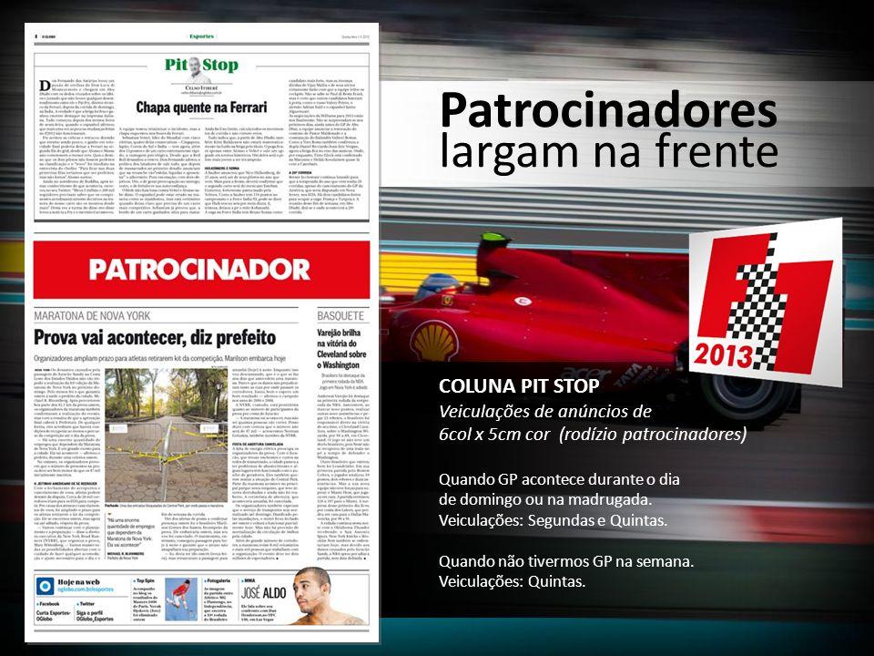 COLUNA PIT STOP Veiculações de anúncios de 6col x 5cm cor (rodízio patrocinadores) Quando GP acontece durante o dia de domingo ou na madrugada. Veicul
