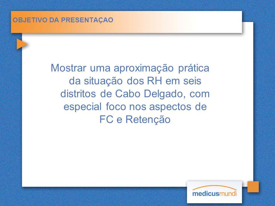 OBJETIVO DA PRESENTAÇAO Mostrar uma aproximação prática da situação dos RH em seis distritos de Cabo Delgado, com especial foco nos aspectos de FC e R