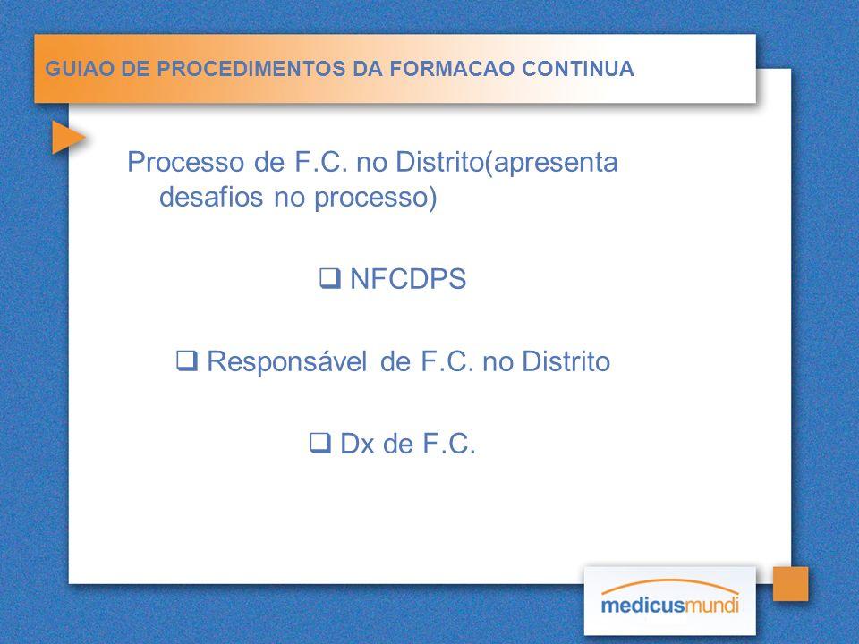 GUIAO DE PROCEDIMENTOS DA FORMACAO CONTINUA Processo de F.C. no Distrito(apresenta desafios no processo) NFCDPS Responsável de F.C. no Distrito Dx de