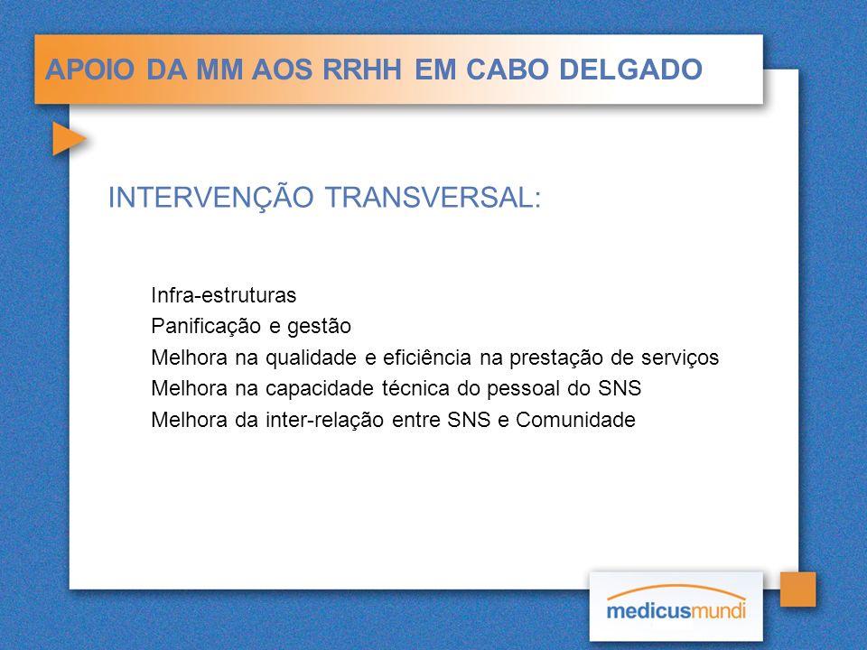 APOIO DA MM AOS RRHH EM CABO DELGADO INTERVENÇÃO TRANSVERSAL: Infra-estruturas Panificação e gestão Melhora na qualidade e eficiência na prestação de