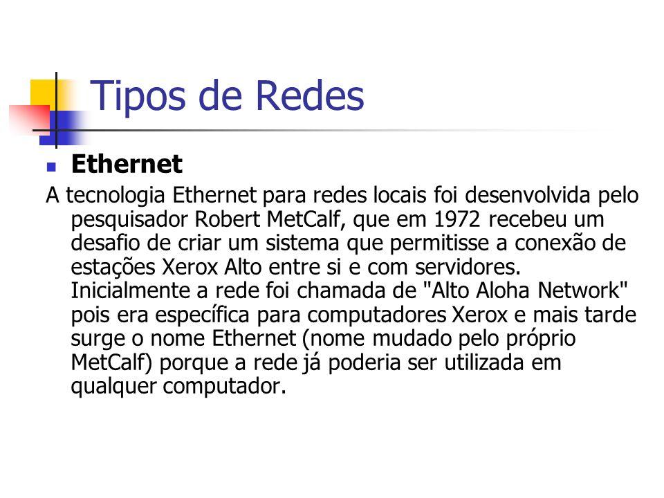 Tipos de Redes Ethernet – Evolução Inicialmente a Ethernet era limitada a 100 estações operando numa banda de 2Mbps utilizando cabo coaxial.