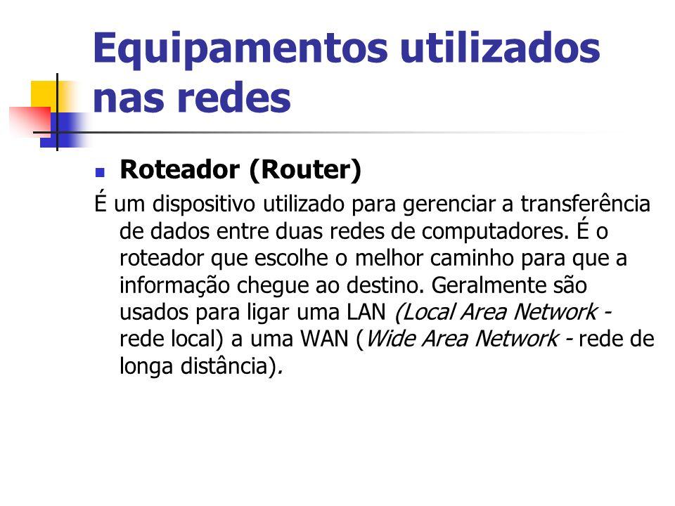 Equipamentos utilizados nas redes Roteador (Router) É um dispositivo utilizado para gerenciar a transferência de dados entre duas redes de computadores.