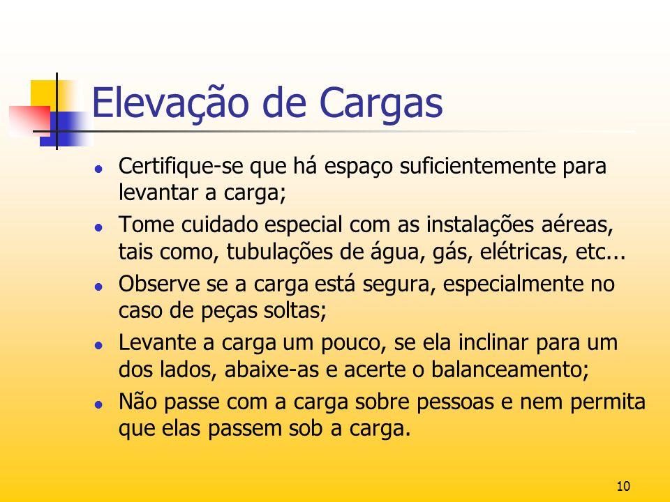10 Elevação de Cargas l Certifique-se que há espaço suficientemente para levantar a carga; l Tome cuidado especial com as instalações aéreas, tais com