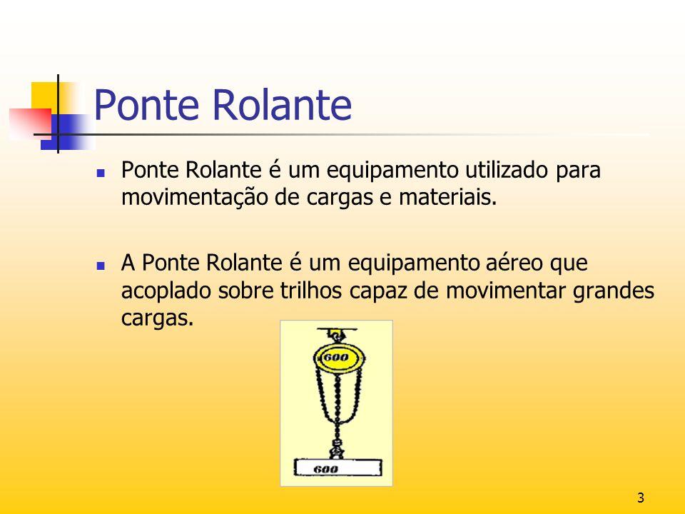3 Ponte Rolante Ponte Rolante é um equipamento utilizado para movimentação de cargas e materiais. A Ponte Rolante é um equipamento aéreo que acoplado