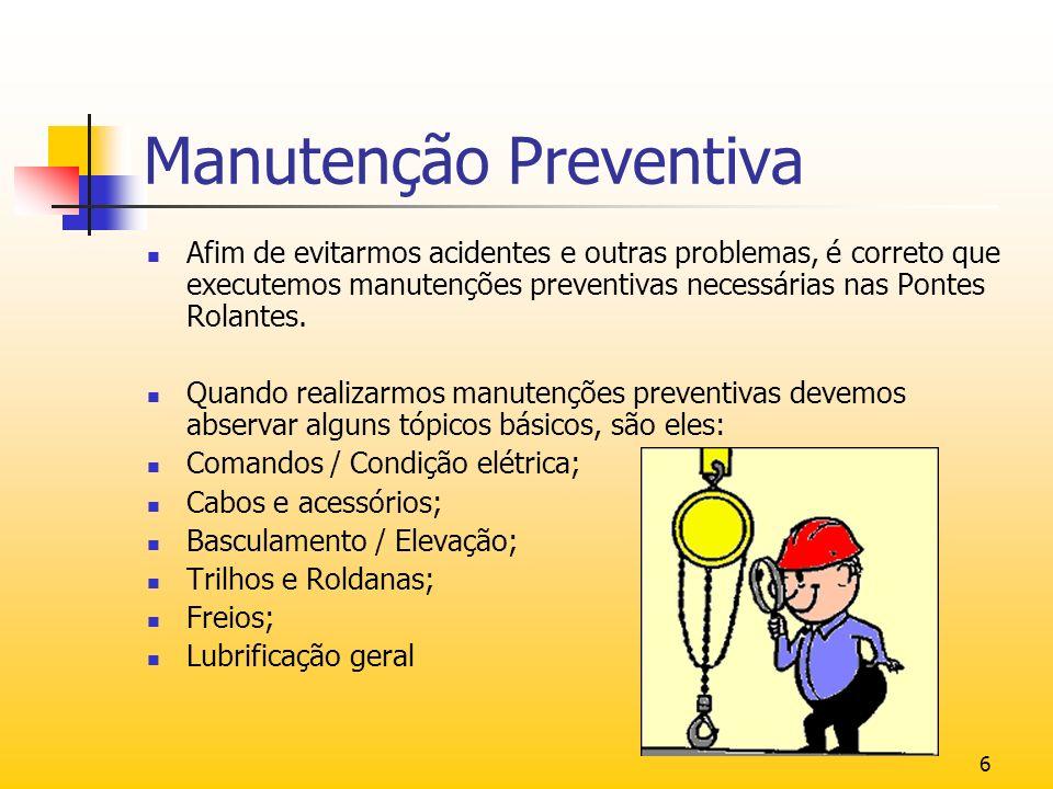 6 Manutenção Preventiva Afim de evitarmos acidentes e outras problemas, é correto que executemos manutenções preventivas necessárias nas Pontes Rolant