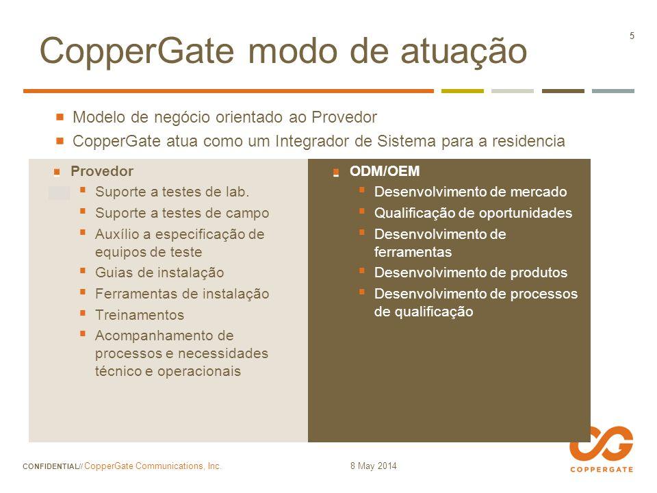 8 May 2014 CONFIDENTIAL// CopperGate Communications, Inc. 56 Gerenciamento por Assinante