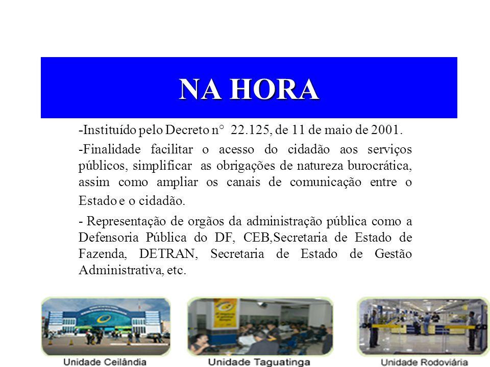 NA HORA -Instituído pelo Decreto n° 22.125, de 11 de maio de 2001. -Finalidade facilitar o acesso do cidadão aos serviços públicos, simplificar as obr