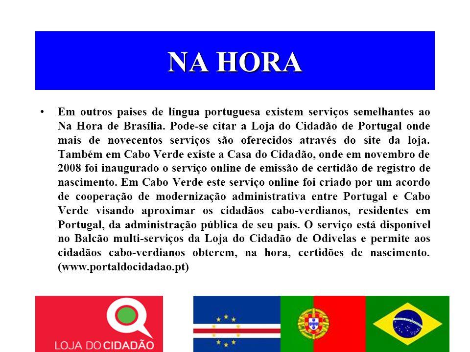 NA HORA Em outros paises de língua portuguesa existem serviços semelhantes ao Na Hora de Brasília. Pode-se citar a Loja do Cidadão de Portugal onde ma