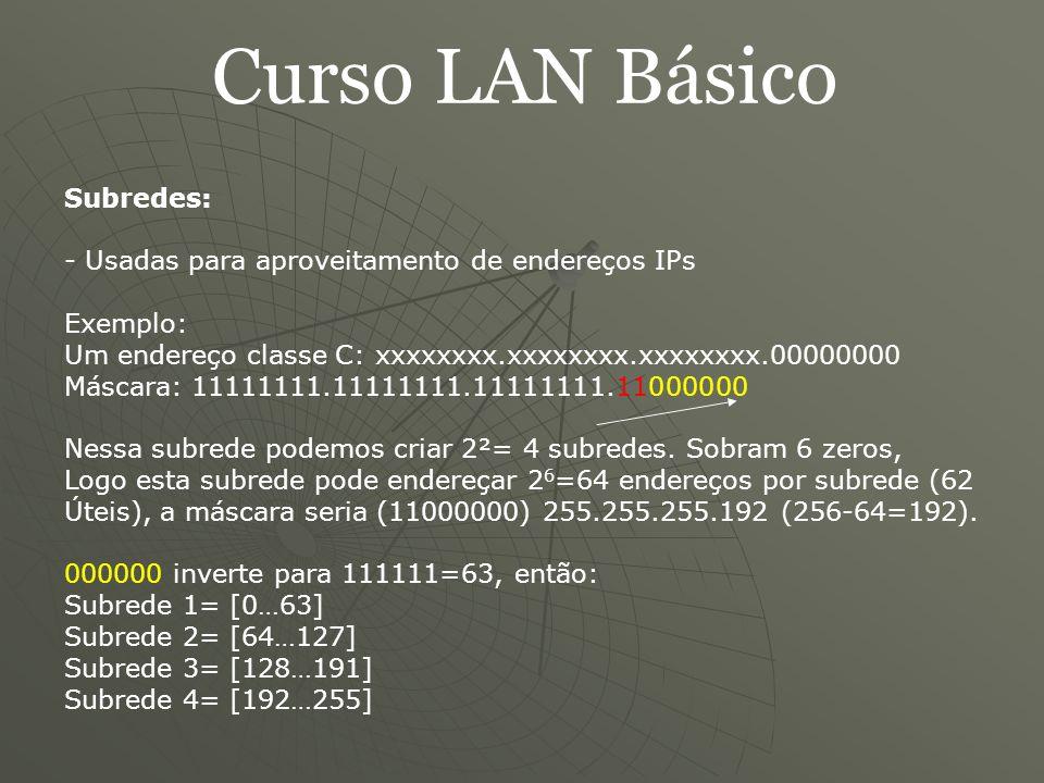 Curso LAN Básico DNS (Domain Name Server): - O que é - Introduzido em 1984 - Como funciona - Usa a porta 53 - Software BIND - Existem 13 servidores raiz no mundo (10 EUA, 1 Ásia, 2 Europa) - Cache DNS