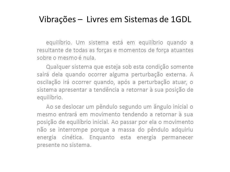 Vibrações – Livres em Sistemas de 1GDL equilíbrio. Um sistema está em equilíbrio quando a resultante de todas as forças e momentos de força atuantes s