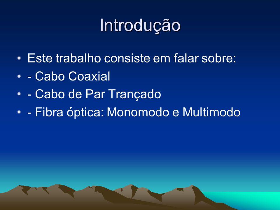 Introdução Este trabalho consiste em falar sobre: - Cabo Coaxial - Cabo de Par Trançado - Fibra óptica: Monomodo e Multimodo