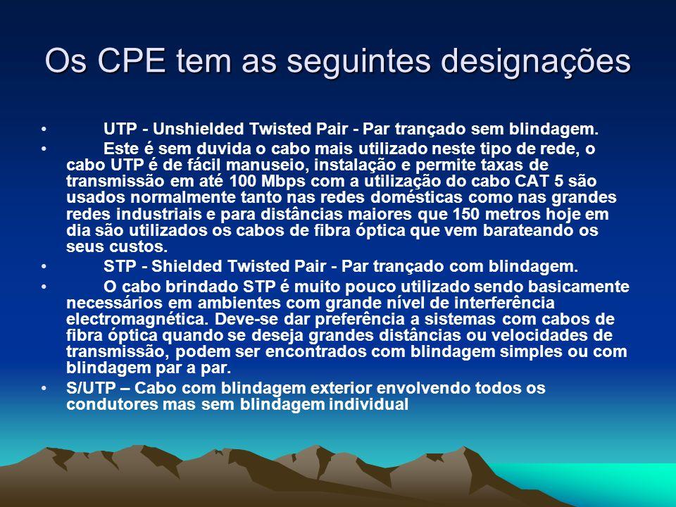 Os CPE tem as seguintes designações UTP - Unshielded Twisted Pair - Par trançado sem blindagem. Este é sem duvida o cabo mais utilizado neste tipo de
