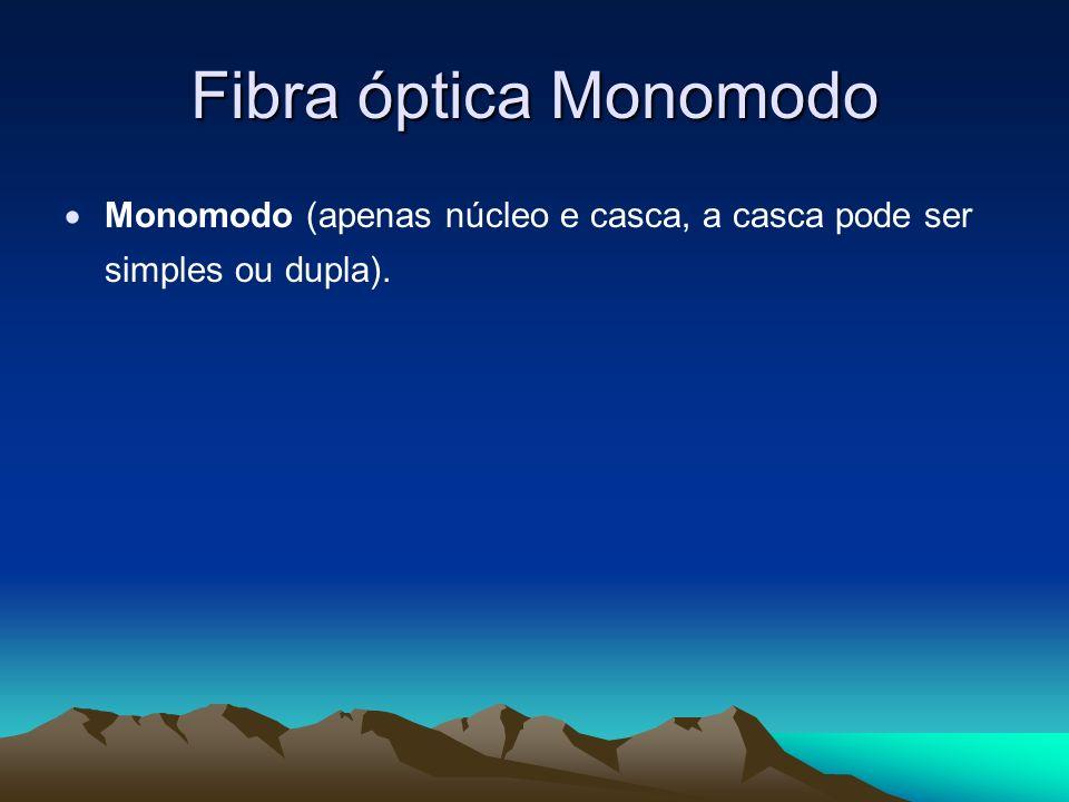 Fibra óptica Monomodo Monomodo (apenas núcleo e casca, a casca pode ser simples ou dupla).