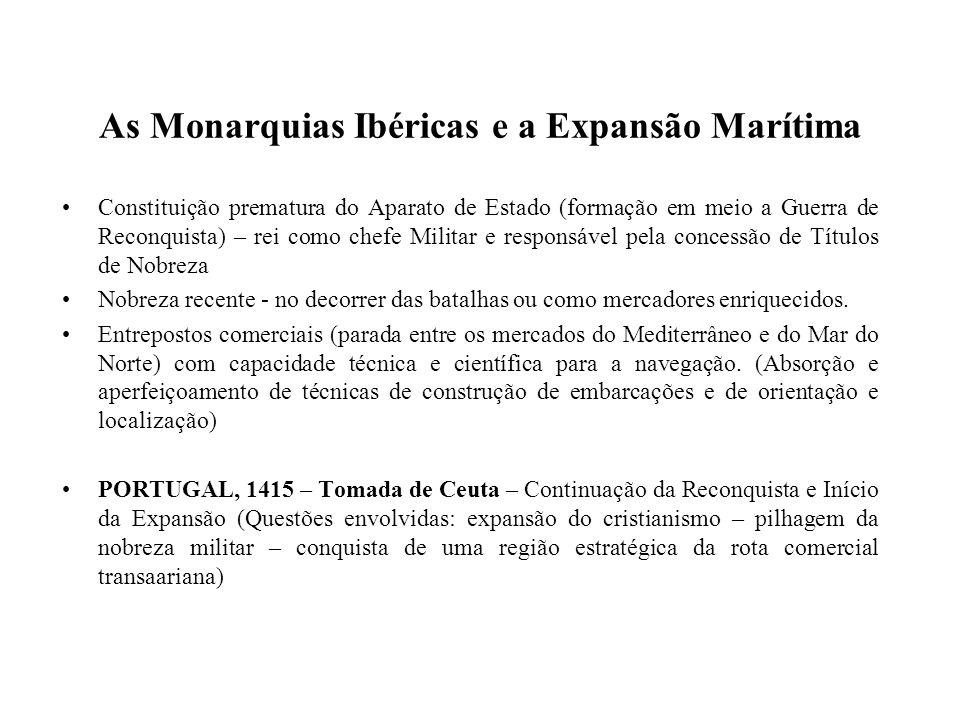 As Monarquias Ibéricas e a Expansão Marítima Constituição prematura do Aparato de Estado (formação em meio a Guerra de Reconquista) – rei como chefe M