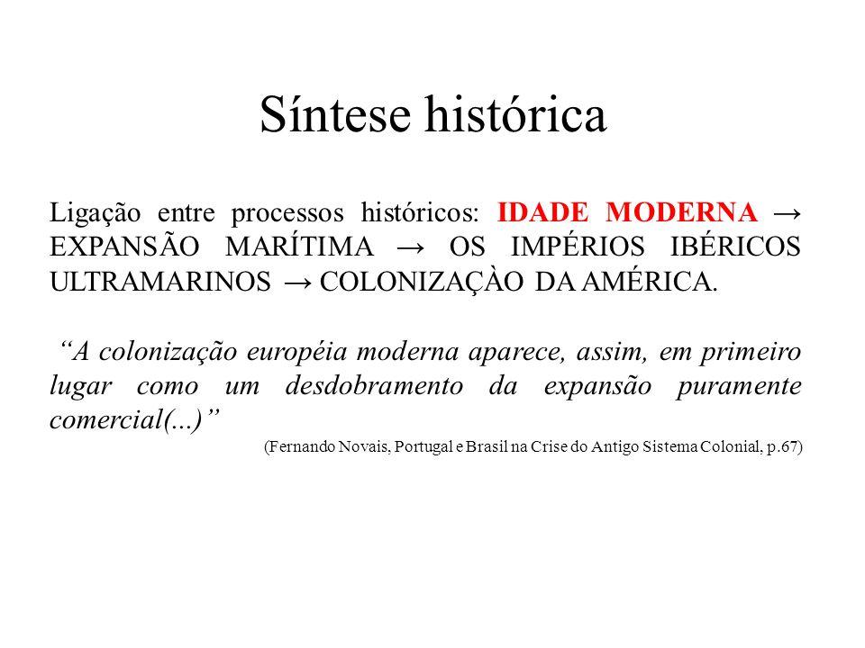 Síntese histórica Ligação entre processos históricos: IDADE MODERNA EXPANSÃO MARÍTIMA OS IMPÉRIOS IBÉRICOS ULTRAMARINOS COLONIZAÇÀO DA AMÉRICA. A colo