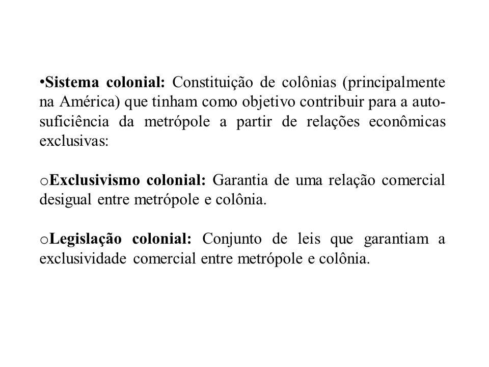 Sistema colonial: Constituição de colônias (principalmente na América) que tinham como objetivo contribuir para a auto- suficiência da metrópole a par