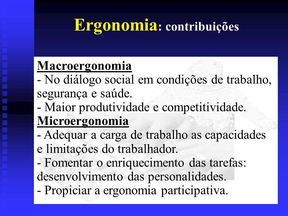 Ergonomia : contribuições Macroergonomia - No diálogo social em condições de trabalho, segurança e saúde.