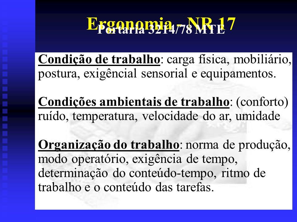 Ergonomia - NR 17 Portaria 3214/78 MTE Condição de trabalho: carga física, mobiliário, postura, exigêncial sensorial e equipamentos.