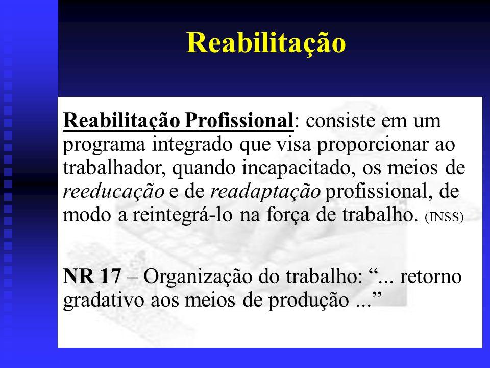 Reabilitação Reabilitação Profissional: consiste em um programa integrado que visa proporcionar ao trabalhador, quando incapacitado, os meios de reeducação e de readaptação profissional, de modo a reintegrá-lo na força de trabalho.