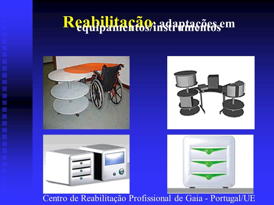Reabilitação : adaptações em equipamentos/instrumentos Centro de Reabilitação Profissional de Gaia - Portugal/UE
