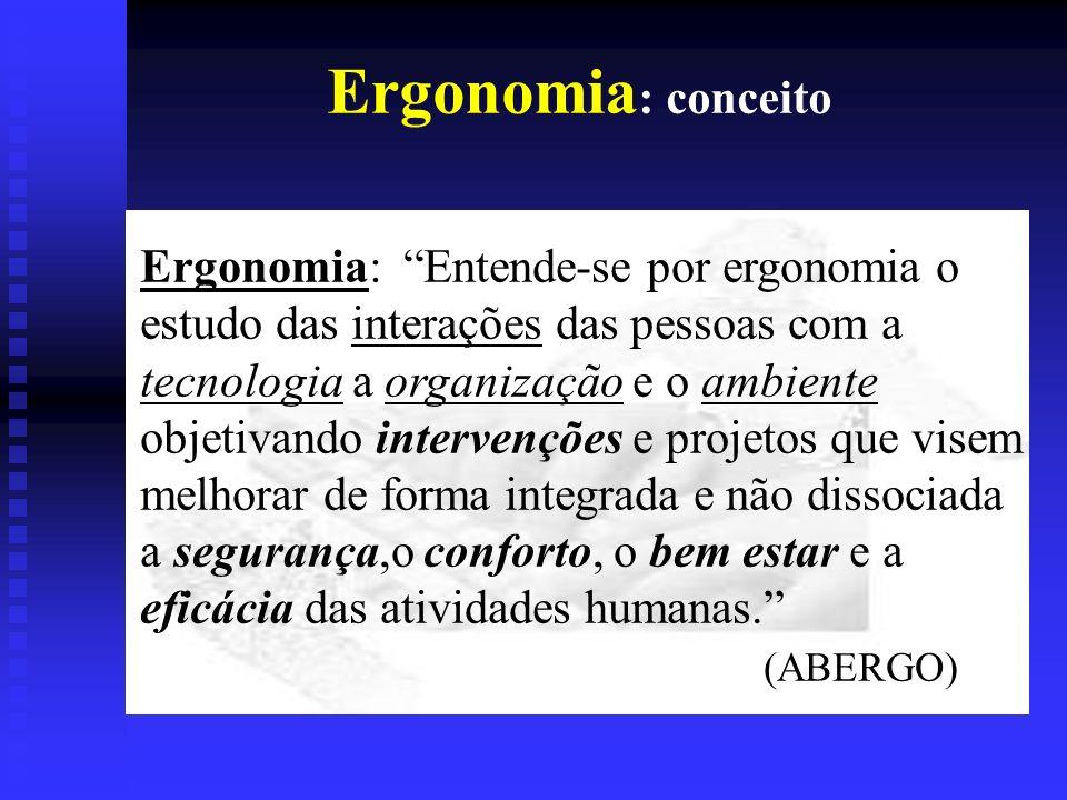 Ergonomia : breve histórico I- Definição (W.