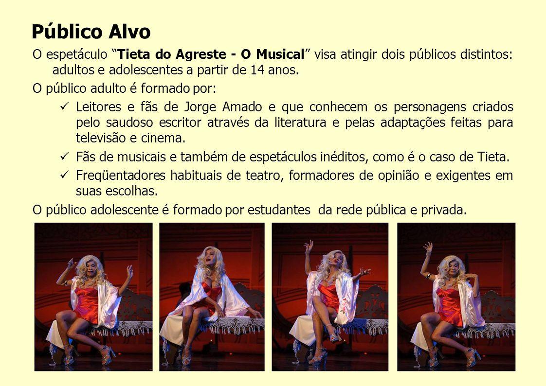 O espetáculo Tieta do Agreste - O Musical visa atingir dois públicos distintos: adultos e adolescentes a partir de 14 anos. O público adulto é formado