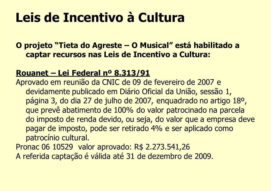 Leis de Incentivo à Cultura O projeto Tieta do Agreste – O Musical está habilitado a captar recursos nas Leis de Incentivo a Cultura: Rouanet – Lei Fe