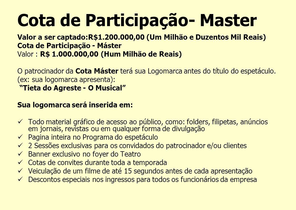 Cota de Participação- Master Valor a ser captado:R$1.200.000,00 (Um Milhão e Duzentos Mil Reais) Cota de Participação - Máster Valor : R$ 1.000.000,00