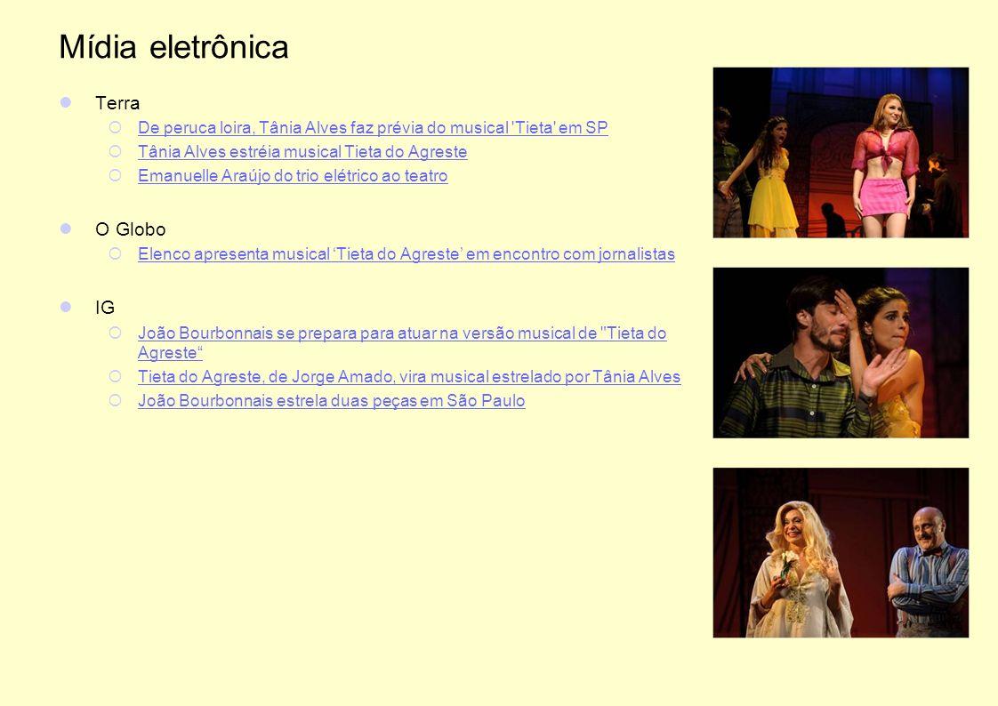Mídia eletrônica Terra De peruca loira, Tânia Alves faz prévia do musical 'Tieta' em SP Tânia Alves estréia musical Tieta do Agreste Emanuelle Araújo