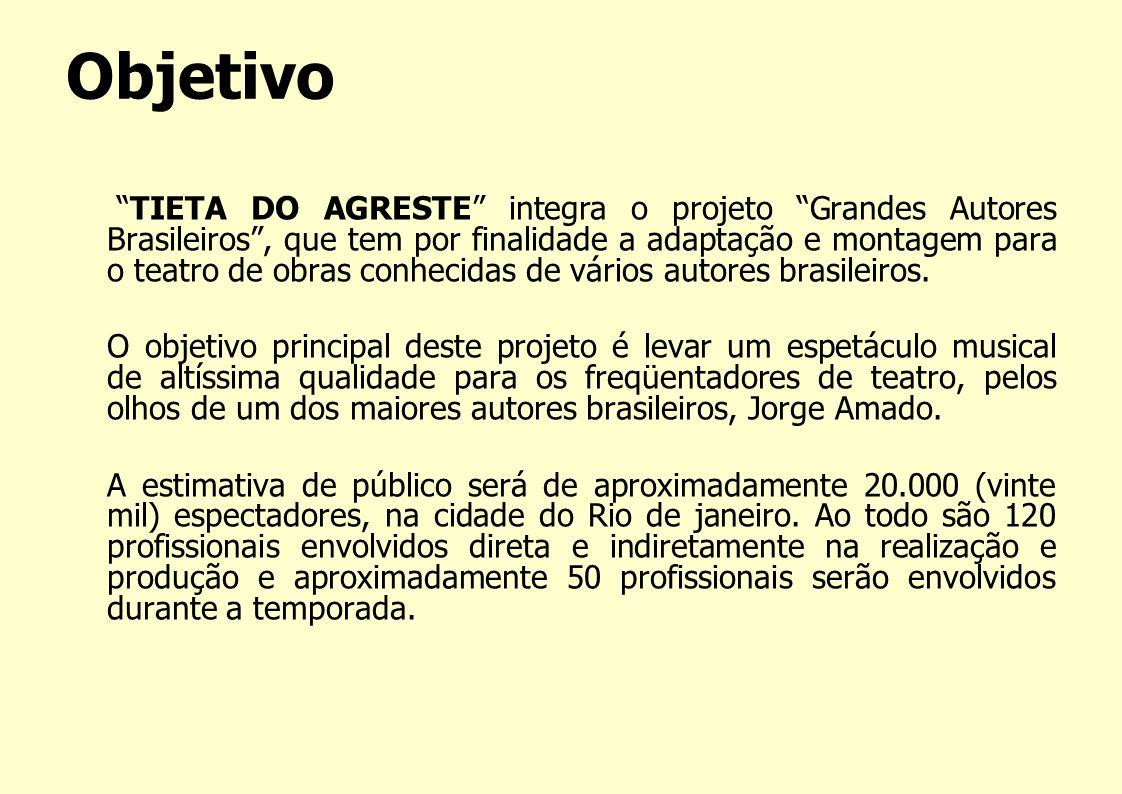 Objetivo TIETA DO AGRESTE integra o projeto Grandes Autores Brasileiros, que tem por finalidade a adaptação e montagem para o teatro de obras conhecid