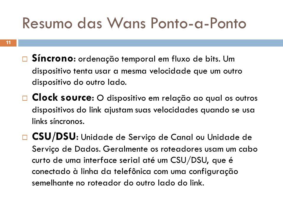 Resumo das Wans Ponto-a-Ponto Síncrono: ordenação temporal em fluxo de bits. Um dispositivo tenta usar a mesma velocidade que um outro dispositivo do