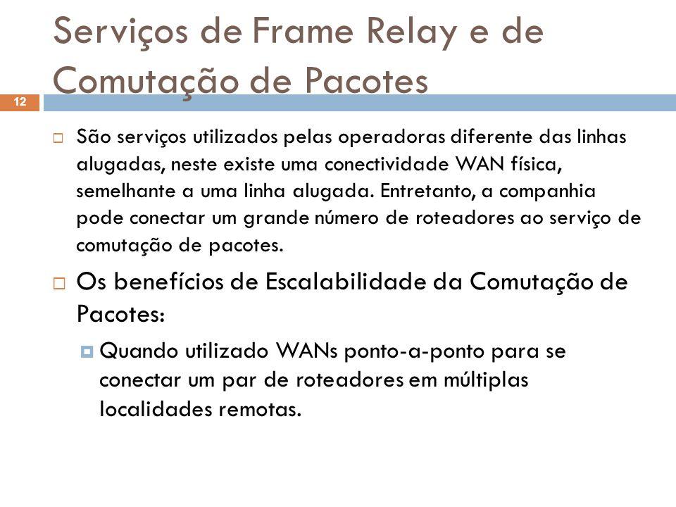 Serviços de Frame Relay e de Comutação de Pacotes São serviços utilizados pelas operadoras diferente das linhas alugadas, neste existe uma conectivida