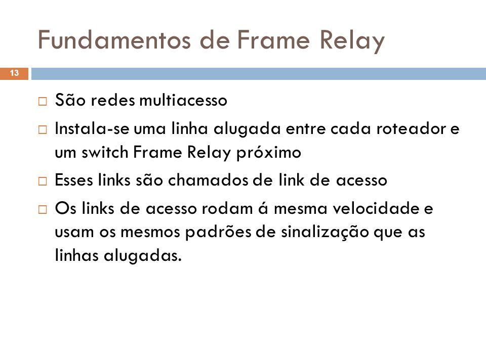 Fundamentos de Frame Relay São redes multiacesso Instala-se uma linha alugada entre cada roteador e um switch Frame Relay próximo Esses links são cham
