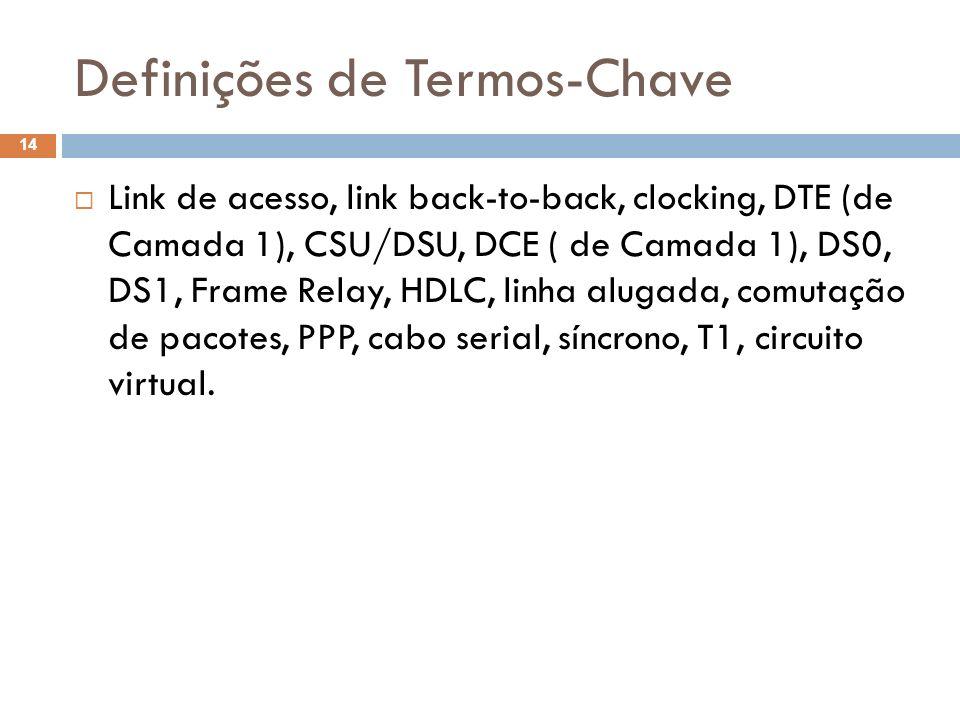 Definições de Termos-Chave Link de acesso, link back-to-back, clocking, DTE (de Camada 1), CSU/DSU, DCE ( de Camada 1), DS0, DS1, Frame Relay, HDLC, l