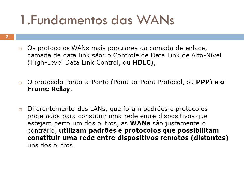 1.Fundamentos das WANs Os protocolos WANs mais populares da camada de enlace, camada de data link são: o Controle de Data Link de Alto-Nível (High-Lev