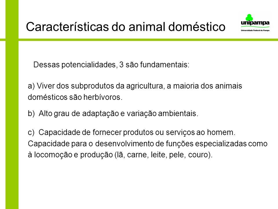 Características do animal doméstico Dessas potencialidades, 3 são fundamentais: a) Viver dos subprodutos da agricultura, a maioria dos animais domésti