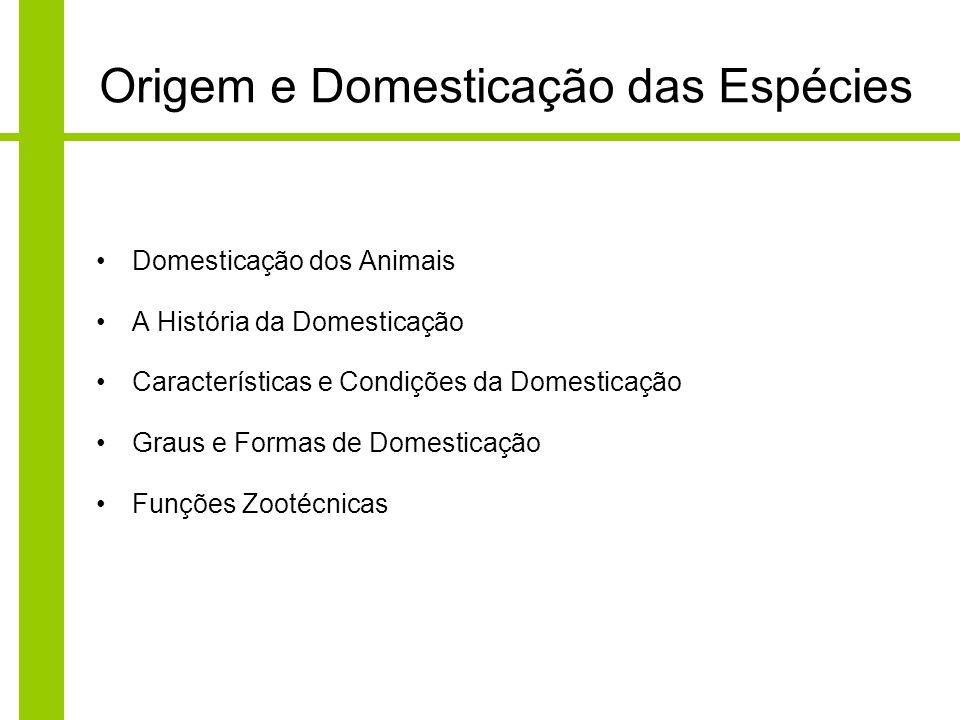 Domesticação dos Animais A História da Domesticação Características e Condições da Domesticação Graus e Formas de Domesticação Funções Zootécnicas