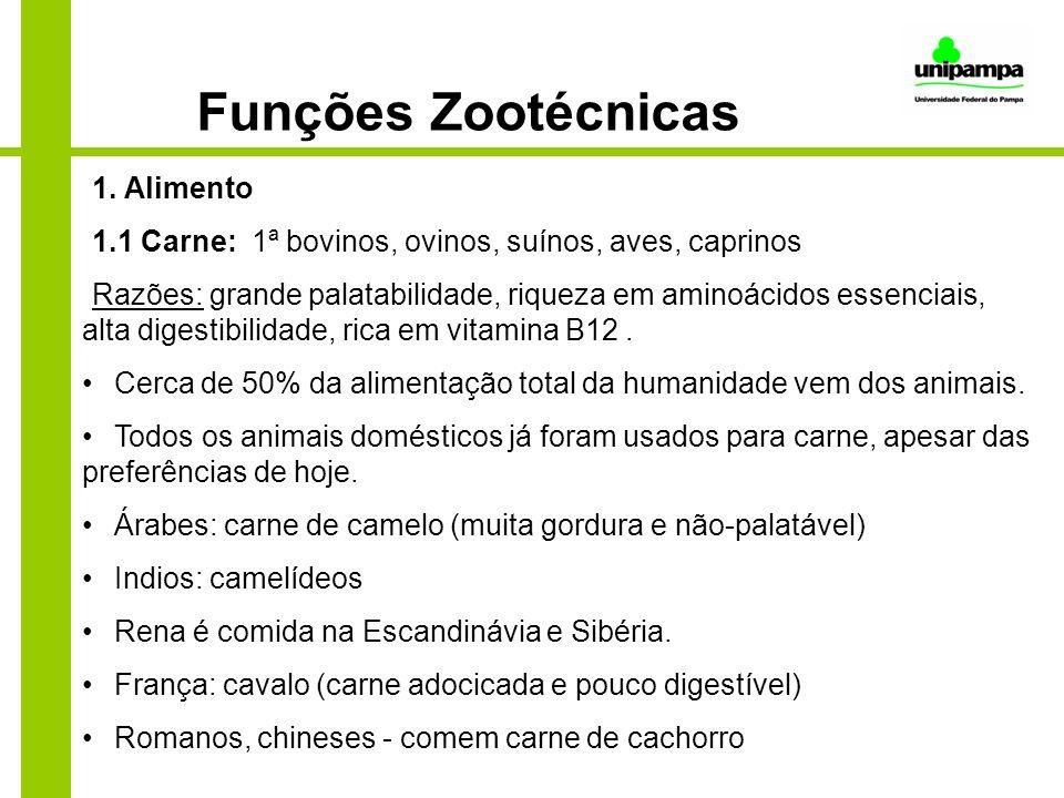 Funções Zootécnicas 1. Alimento 1.1 Carne: 1ª bovinos, ovinos, suínos, aves, caprinos Razões: grande palatabilidade, riqueza em aminoácidos essenciais