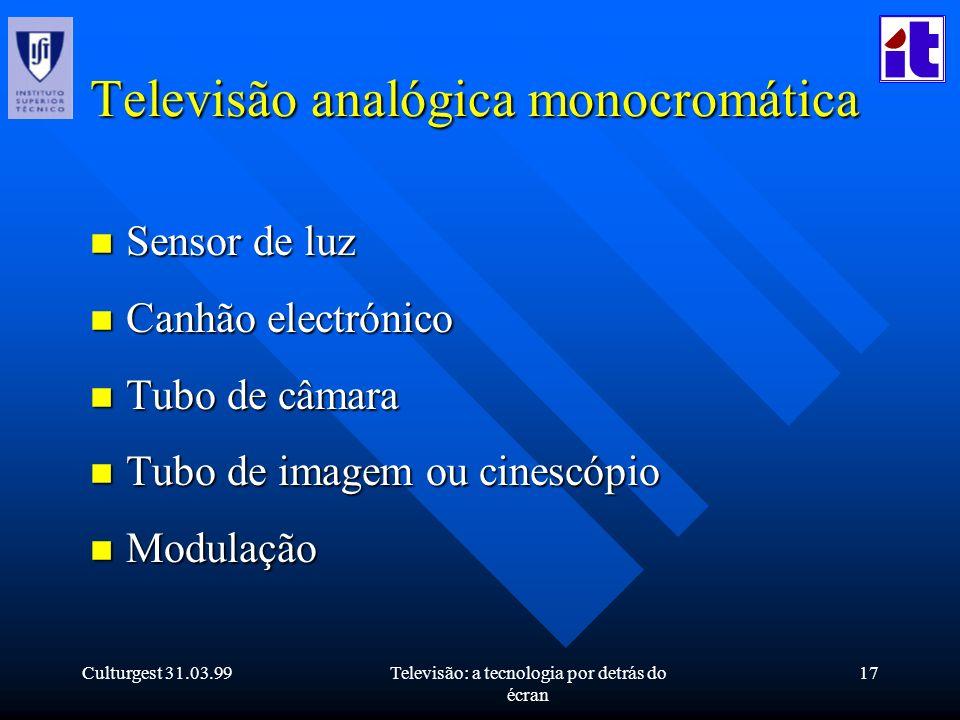 Culturgest 31.03.99Televisão: a tecnologia por detrás do écran 17 Televisão analógica monocromática n Sensor de luz n Canhão electrónico n Tubo de câm