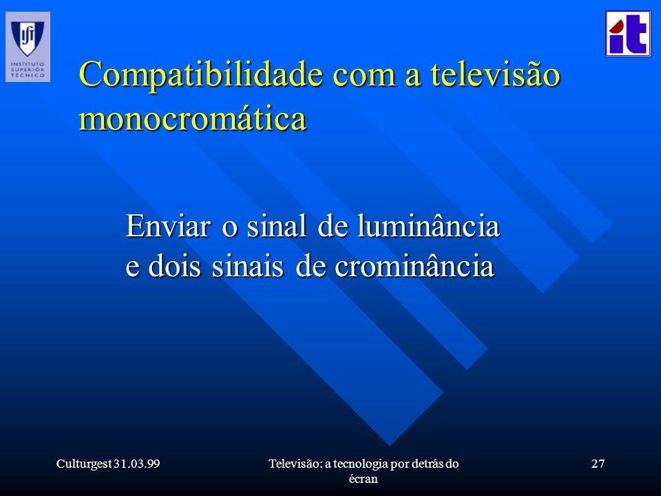 Culturgest 31.03.99Televisão: a tecnologia por detrás do écran 27 Compatibilidade com a televisão monocromática Enviar o sinal de luminância e dois si