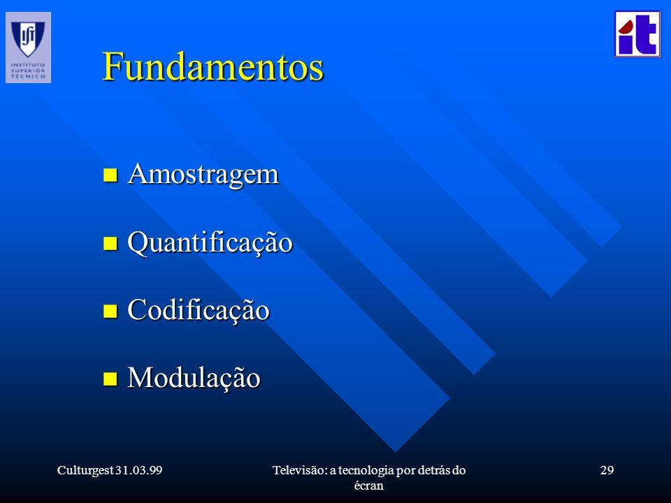 Culturgest 31.03.99Televisão: a tecnologia por detrás do écran 29 Fundamentos n Amostragem n Quantificação n Codificação n Modulação
