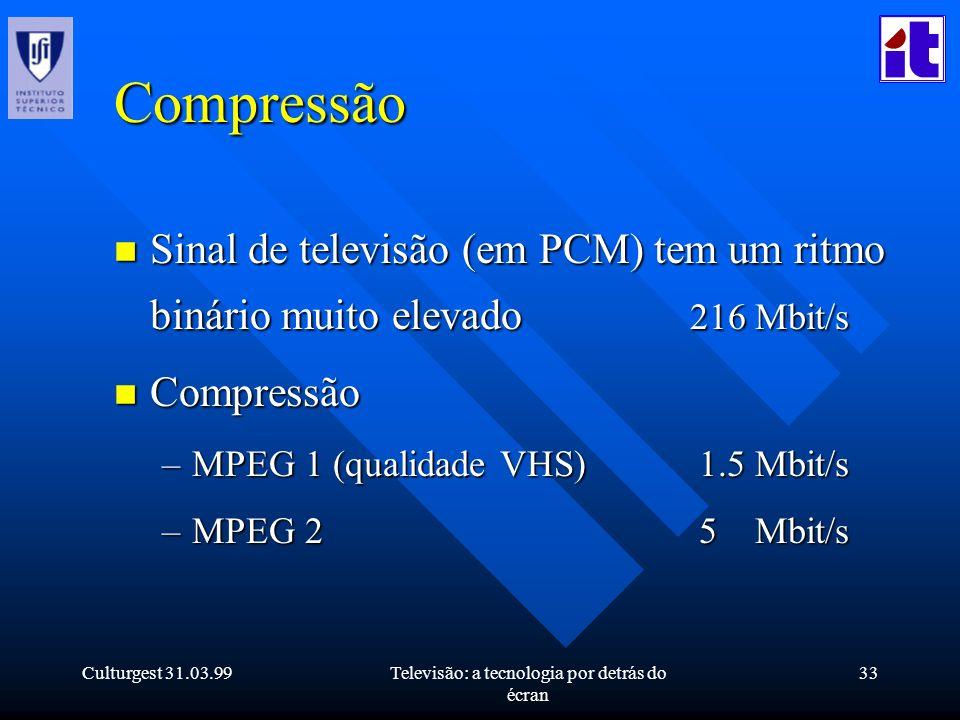 Culturgest 31.03.99Televisão: a tecnologia por detrás do écran 33 Compressão n Sinal de televisão (em PCM) tem um ritmo binário muito elevado 216 Mbit