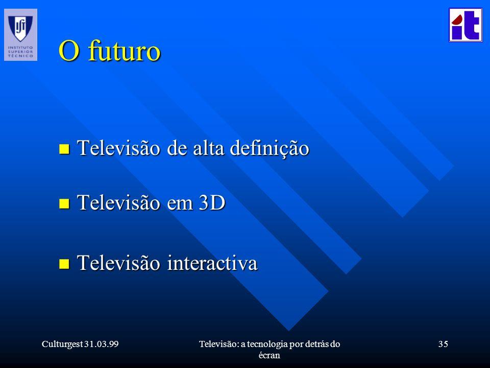 Culturgest 31.03.99Televisão: a tecnologia por detrás do écran 35 O futuro n Televisão de alta definição n Televisão em 3D n Televisão interactiva