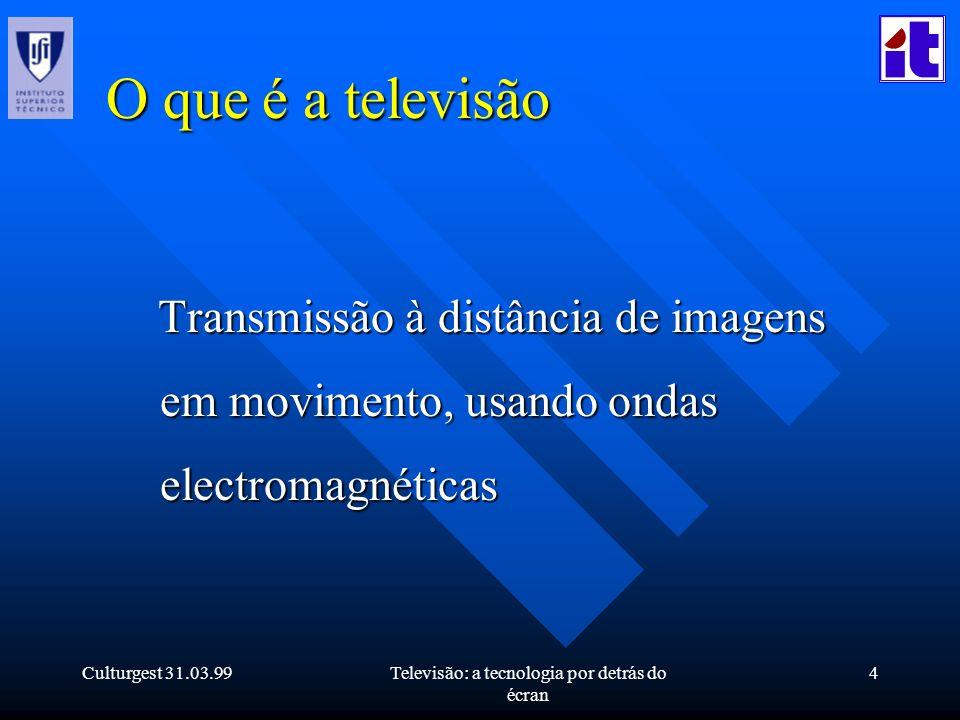 Culturgest 31.03.99Televisão: a tecnologia por detrás do écran 4 O que é a televisão Transmissão à distância de imagens em movimento, usando ondas ele