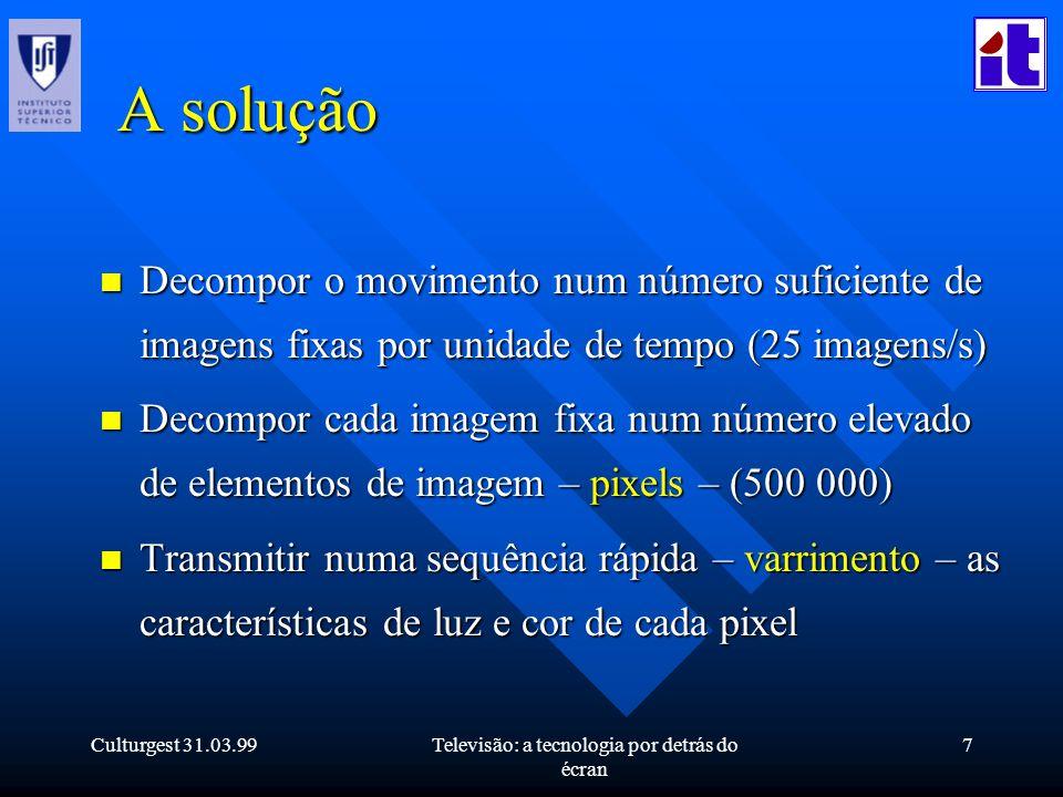 Culturgest 31.03.99Televisão: a tecnologia por detrás do écran 7 A solução n Decompor o movimento num número suficiente de imagens fixas por unidade d