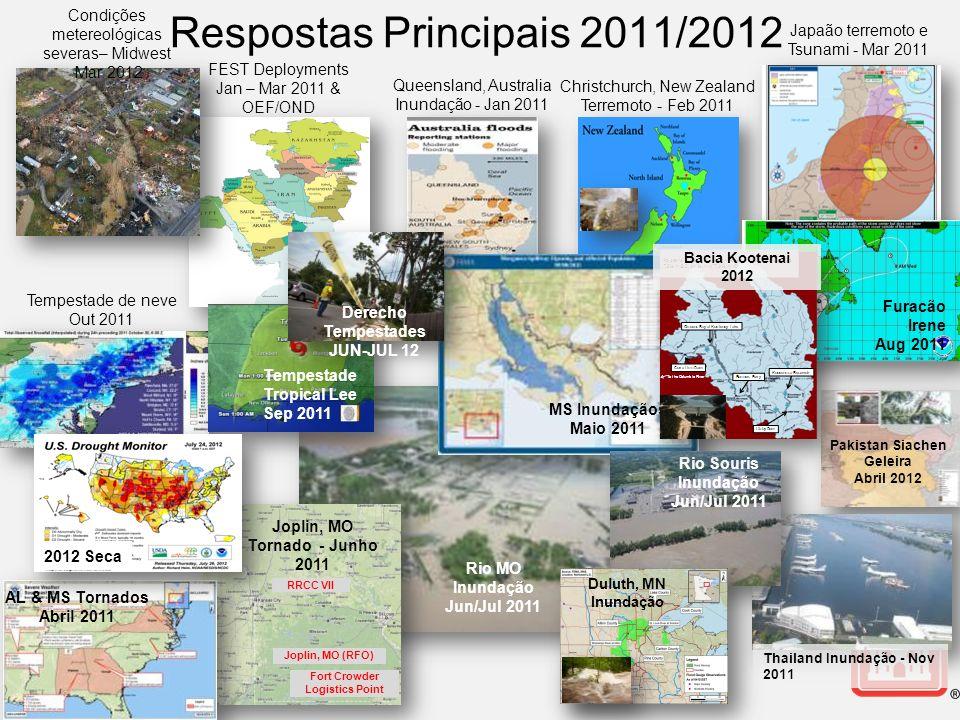 Pakistan Siachen Geleira Abril 2012 Respostas Principais 2011/2012 Queensland, Australia Inundação - Jan 2011 Christchurch, New Zealand Terremoto - Fe