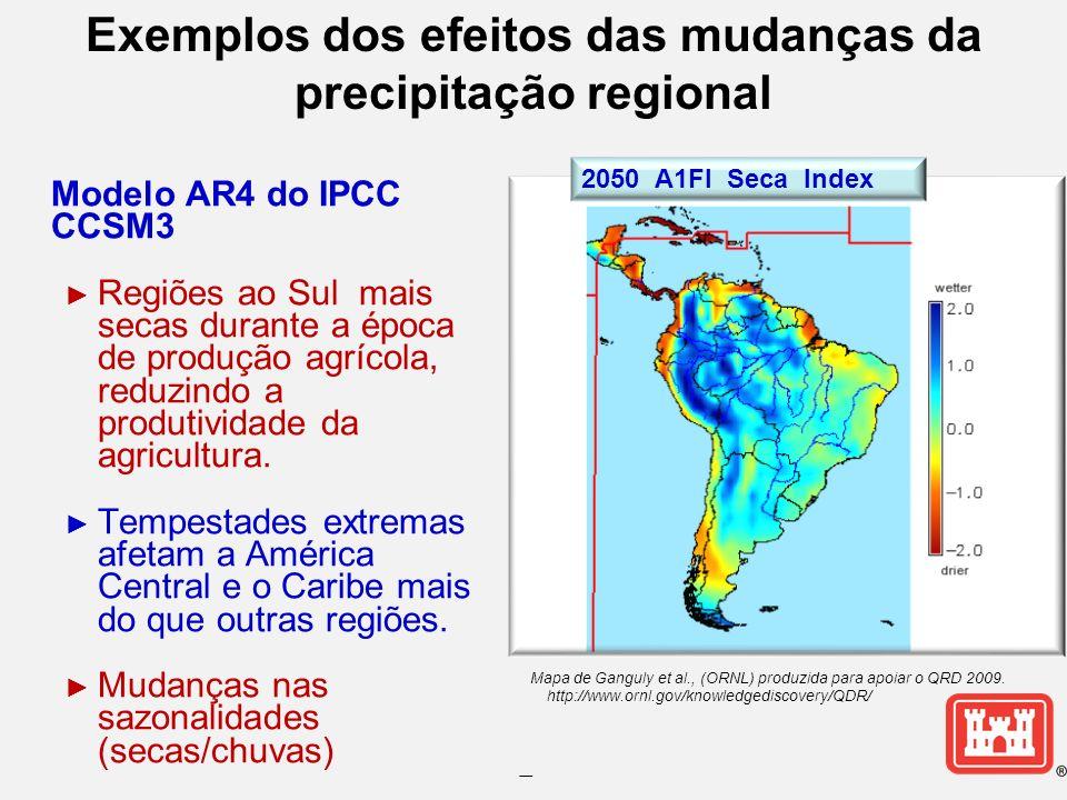 -- Exemplos dos efeitos das mudanças da precipitação regional Modelo AR4 do IPCC CCSM3 Regiões ao Sul mais secas durante a época de produção agrícola, reduzindo a produtividade da agricultura.